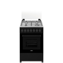 Simfer 5402SERB 4 Gas Cooker + Electric Oven, Glass Lid - Black