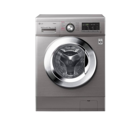 LG FH4G6VDGG6 Front Load Washer Dryer, 9/5 KG - Silver - Free 750g Ariel Detergent & 300ml Downy Softener