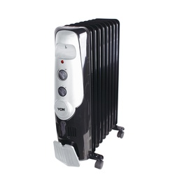 Von VSHC2090K 2KW Oil Filled Radiator Heater, 9 Fins - Black