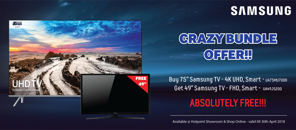 "Buy Samsung UA75MU7000 75"" LED TV UHD - Smart and get Samsung UA49J5200 49"" LED TV - Smart absolutely FREE"