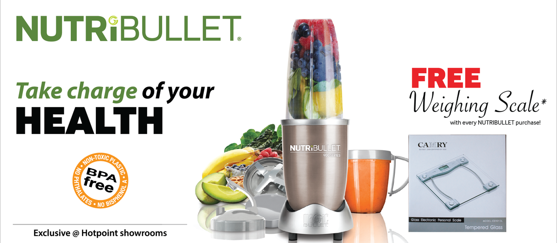 Take charge of your Health with Nutribullet. Offer Exclusively available at Hotpoint Retail Stores.