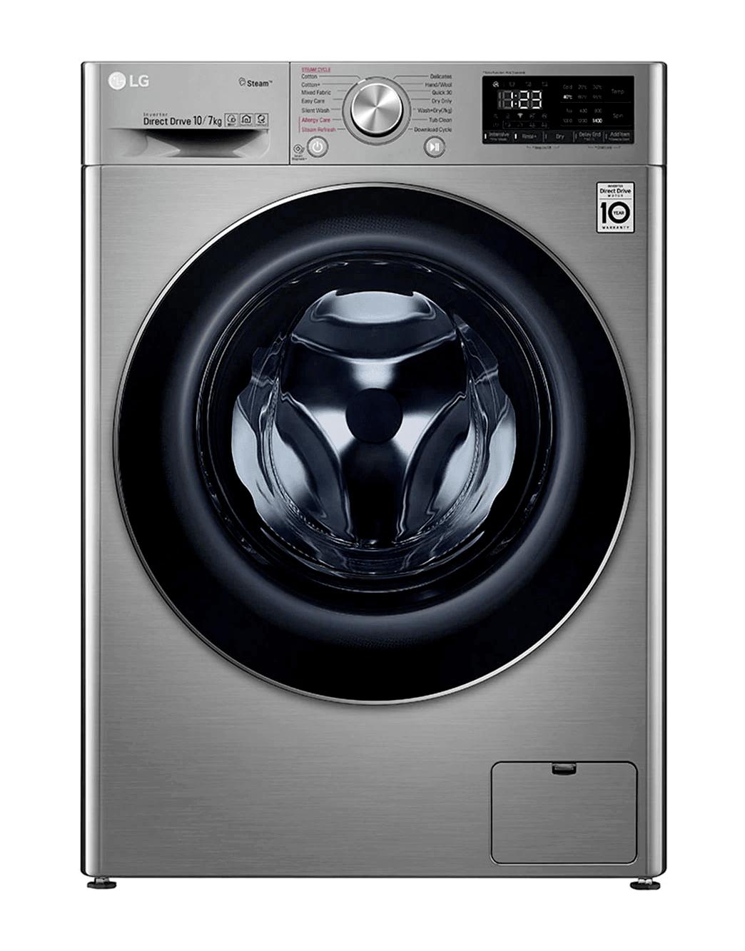 LG F4V5RGP2T Front Load Washer Dryer, 10.5/7KG - Silver | hotpoint.co.ke