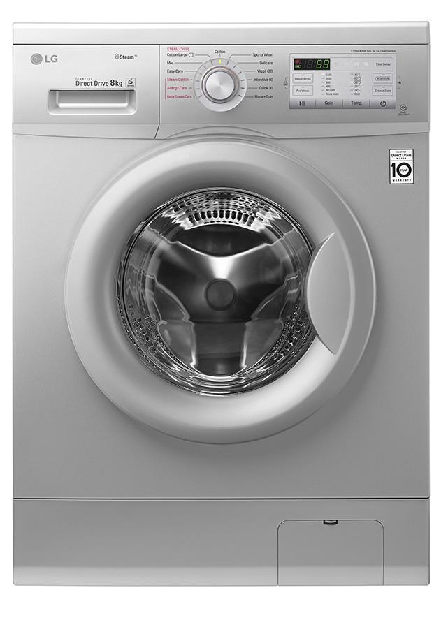 LG FH4G7TDY5 Front Load Washing Machine, 8KG, DD, Steam - Silver - Free  700g Ariel Detergent & 300ml Downy Softener