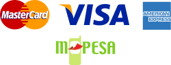 We accept Mastercard, Visa and M-Pesa, as well as payment on Delivery